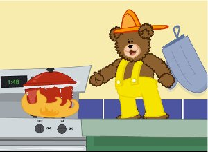 Ready Freddy the Fire Teddy pointing at a boiling pot on a stove